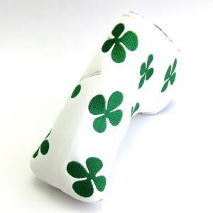 ゴルフ パターカバー PUレザー ホワイト クローバー柄 刺繍 ピン型タイプ|izumigolf