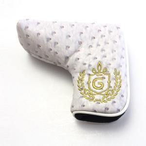 ゴルフ パターカバー オーストリッチ 型押し PUレザー マグネット式 カラー:グレー izumigolf
