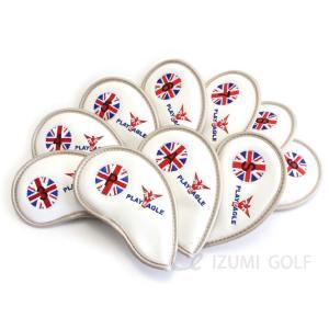 ゴルフ エナメル アイアン ヘッドカバー ユニオンジャック ホワイト 3〜P 刺繍番手入り 10点セット PUレザー|izumigolf