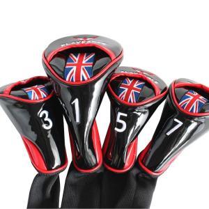 ゴルフ PLAYEAGLE エナメルヘッドカバー 4点セット ユニオンジャック ブラック #1・#3・#5・#7 ドライバー・フェアウェイウッド用|izumigolf