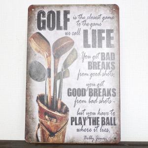 ゴルフ ブリキ看板 プレート GOLF LIFE アンティークゴルフクラブ&キャディバッグ 20x30cm izumigolf