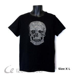 スカル Tシャツ ラインストーン ブラック メンズ・レディース 半袖 丸首 Skull T-shirt|izumigolf