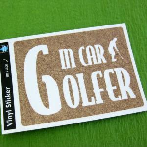 耐水&耐光ステッカー 『GOLFER In CAR』 サンド(ベージュ)|izumigolf