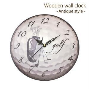 ゴルフ 掛け時計 ウォールクロック 木製 アンティーク風 ゴルフバッグ柄 直径30cm スイープムーブメント 静音 インテリア ゴルフモチーフ ギフト ゴルフコンペ|izumigolf