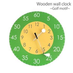 ゴルフ 掛け時計 ウォールクロック 木製 ゴルフクラブ&ゴルフボールの時計針 直径30cm スイープムーブメント 静音 インテリア ギフト ゴルフコンペ izumigolf