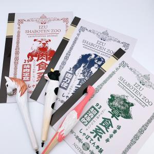 伊豆シャボテン本舗 新学期 文房具 筆記用具セット おもしろノート3冊 & 木彫りペン3本|izushabotenhonpo
