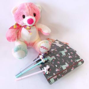 伊豆シャボテン本舗 おもちゃ ぬいぐるみ 大きい くま & ユニコーン柄 ノート ペン セット 誕生日|izushabotenhonpo