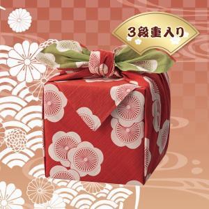 「幸せの宝箱」三段重ね 日本製風呂敷包み(OJYU-BR120)(19sm_7119-51)|j-gift