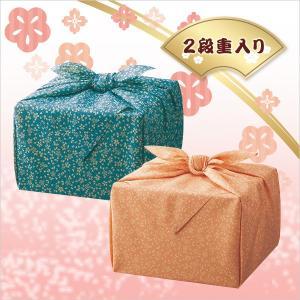 「幸せの宝箱」二段重ね 日本製風呂敷包み ブルー・ピンク(OJYU-SHU40MBL/SHU40WPI)(19sm_7119-35/43)|j-gift
