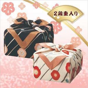 「幸せの宝箱」二段重ね 日本製ちりめん風呂敷包み クロ・シロ(OJYU-SHU50MBLK/50WWH)(19sm_7119-19/27)|j-gift