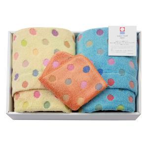 今治タオル ポップカラー 水玉ギフトセットB(フェイス2枚・ハンカチタオル1枚) 七福タオル|j-gift