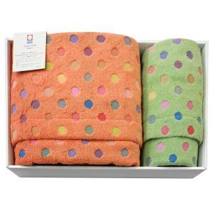 今治タオル ポップカラー 水玉ギフトセットC(バス1枚・フェイス1枚) 七福タオル|j-gift