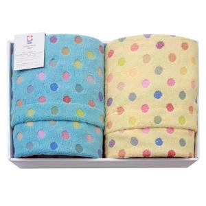 今治タオル ポップカラー 水玉ギフトセットE(バスタオル2枚) 七福タオル|j-gift