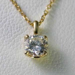 ダイヤモンド ネックレス 一粒 ゴールド 0.3カラット 鑑定書付 0.334ct Fカラー VS2クラス 3EXカット H&C CGL 通販|j-jewelry|01