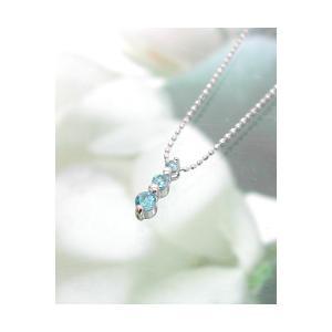 ホワイトゴールド 誕生石ネックレス ブルートパーズ 11月  K18WG製 ダイアモンド 送料無料|j-kimura