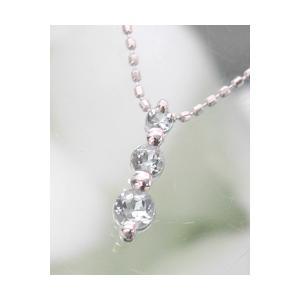 ホワイトゴールド 誕生石ネックレス アクアマリン 3月 K18WG製 送料無料|j-kimura