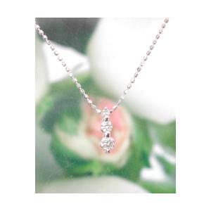 ホワイトゴールド 誕生石ネックレス ダイヤモンド 4月 ダイアモンド3個付き K18WG製 送料無料|j-kimura