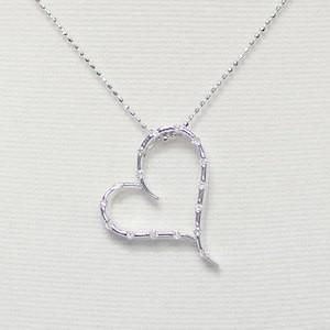 ホワイトゴールド 大ぶりハート ネックレス 16石のダイヤモンド ホワイトゴールドK18WG x 天然ダイヤモンド|j-kimura
