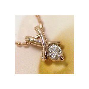 レディースネックレス ピンクゴールド K18PG製 1つ石のダイヤモンドが綺麗に輝く 送料無料|j-kimura