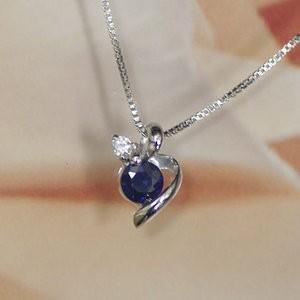 ホワイト ゴールド 誕生石 ネックレス 9月 サファイヤ ダイヤモンド ペンダント K10WG 幸せの絆 幸せをはこぶ誕生石 記念日 誕生日|j-kimura