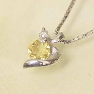 ホワイト ゴールド 誕生石 ネックレス 11月 シトリン ダイヤモンド ペンダント K10WG 幸せの絆 幸せをはこぶ誕生石 記念日 誕生日|j-kimura