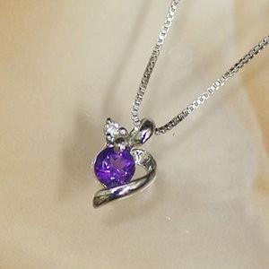 ホワイトゴールド 誕生石  ネックレス 2月 アメジスト ダイヤモンド ペンダント K10WG 幸せの絆 幸せをはこぶ誕生石 記念日 誕生日|j-kimura