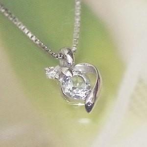 ホワイト ゴールド 誕生石 ネックレス 3月 アクアマリン ダイヤモンド ペンダント K10WG 幸せをはこぶ誕生石  記念日 誕生日|j-kimura