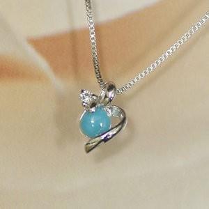 ホワイトゴールド 誕生石 ネックレス 12月 ターコイズ ダイヤモンド ペンダント K10WG 幸せの絆 幸せをはこぶ誕生石 記念日 誕生日|j-kimura