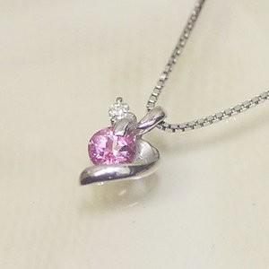 ホワイト ゴールド 誕生石 ネックレス 10月 ピンクトルマリン ダイヤモンド ペンダント K10WG 幸せの絆 幸せをはこぶ誕生石 記念日 誕生日|j-kimura