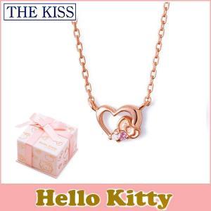 ハローキィ コラボ THE KISS シルバー ネックレス レディース SV925 リボン ハートモチーフ ピンクコーティング ダイヤ ピンクトルマリン KITTY-11DM|j-kimura