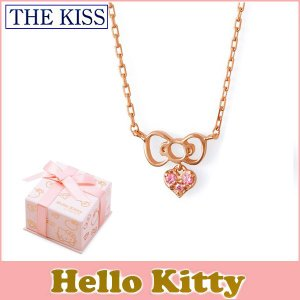 ハローキティ×THE KISSコラボ THE KISS シルバー ネックレス レディース SV925 リボンモチーフ ピンクコーティング キュービックジルコニア KITTY-24CB|j-kimura