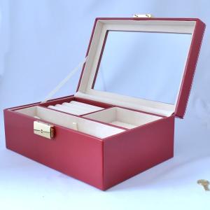 高級 ジュエリーボックス 大容量 鍵付 真っ赤でシンプル 宝...