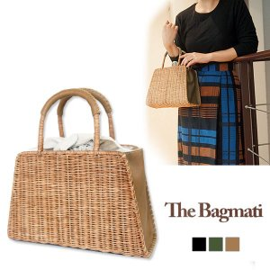 [30%off] The Bagmati バグマティ かごバッグ 台形 ウィッカー ラタン レザー 内布付き ミニ トートバッグ ハンドバッグ BBK18-02|j-piaplus