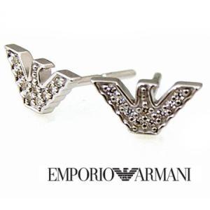 EMPORIO ARMANI  エンポリオ アルマーニ EG3027040 イーグルロゴ ピアス シルバー ラインストーン付|j-sekine2nd