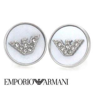 EMPORIO ARMANI エンポリオ アルマーニ EGS2355040 丸型 ピアス ステンレス イーグルロゴ ラインストーン付 シルバー|j-sekine2nd