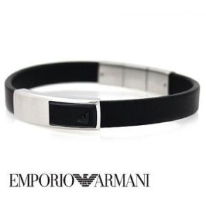 EMPORIO ARMANI エンポリオ アルマーニ EGS2288040 レザー アクセサリー イーグルロゴ ブレスレット ブラック×シルバー|j-sekine2nd