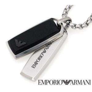EMPORIO ARMANI エンポリオ アルマーニ EGS2290040 アクセサリー イーグルロゴ ダブルプレート ブラック×シルバー ネックレス/ペンダント|j-sekine2nd