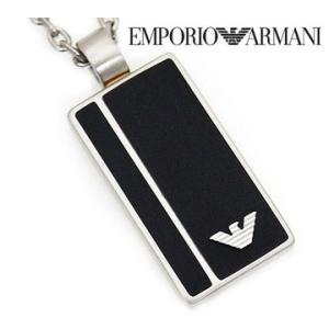 EMPORIO ARMANI エンポリオアルマーニ EGS2031 アクセサリー イーグルロゴ プレート ブラック×シルバー ネックレス/ペンダント EGS2031040|j-sekine2nd