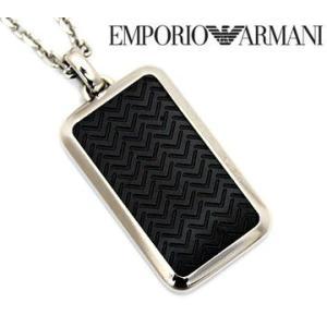 EMPORIO ARMANI エンポリオ アルマーニ EGS2228001 アクセサリー イーグルロゴ プレート ネックレス/ペンダント ブラック×シルバー|j-sekine2nd