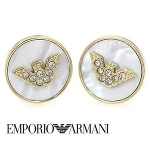 EMPORIO ARMANI エンポリオ アルマーニ EGS2354710 丸型 ピアス ステンレス イーグルロゴ ラインストーン付 ゴールド|j-sekine2nd