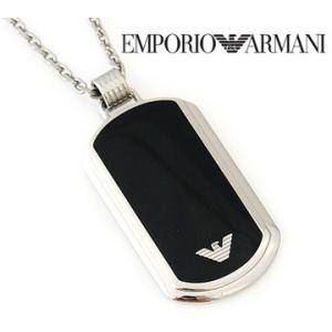 EMPORIO ARMANI エンポリオアルマーニ EGS1726 アクセサリー イーグルロゴ プレート ブラック×シルバー ネックレス/ペンダント EGS1726040|j-sekine2nd