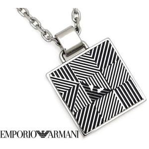 EMPORIO ARMANI エンポリオ アルマーニ EGS2507040 アクセサリー イーグルロゴ プレート ネックレス/ペンダント ブラック×シルバー|j-sekine2nd