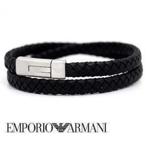 EMPORIO ARMANI  エンポリオ アルマーニ EGS2176040 レザー アクセサリー ブレスレット イーグルロゴ ブラック|j-sekine2nd