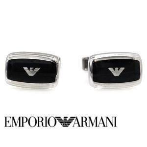 EMPORIO ARMANI エンポリオ アルマーニ EGS1728040 メンズ イーグルロゴ カフス カフリンク シルバー×ブラック|j-sekine2nd