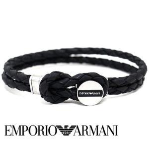 EMPORIO ARMANI  エンポリオ アルマーニ EGS2178040 ブレスレット アクセサリー レザー 編み込み イーグルロゴ ブラック|j-sekine2nd
