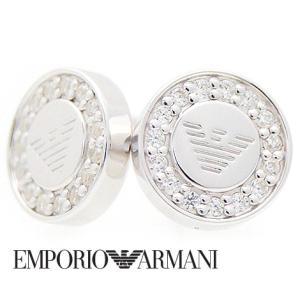 EMPORIO ARMANI  エンポリオ アルマーニ EG3053040 丸型 ピアス シルバー ラインストーン付|j-sekine2nd