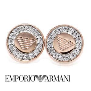 EMPORIO ARMANI  エンポリオ アルマーニ EG3054221 丸型 ピアス シルバー925 ピンクゴールド ラインストーン付 j-sekine2nd