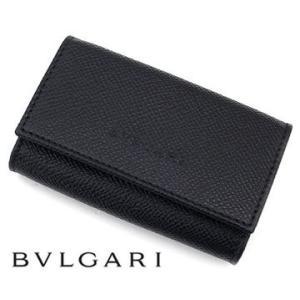 ea0df6ec13c9 BVLGARI ブルガリ 20864 CLASSICO クラシコ グレインレザー 6連キーケース チェーン付 ブラック| ...