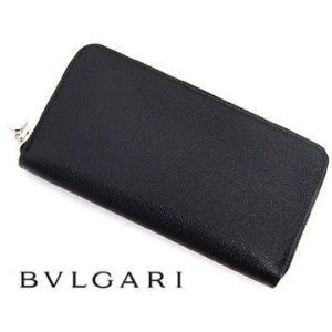 f465589952a2 BVLGARI ブルガリ 20886 CLASSICO クラシコ グレインレザー 小銭入れ付 ラウンドファスナー長財布 ブラック