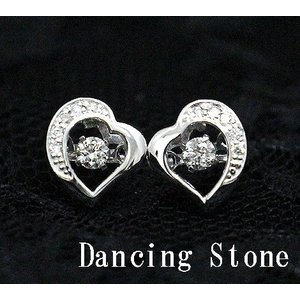 Dancing Stone ダンシングストーン K18WG ホワイトゴールド ダイヤモンド ピアス ハート トータル0,120ct FTWE-0089 j-sekine2nd